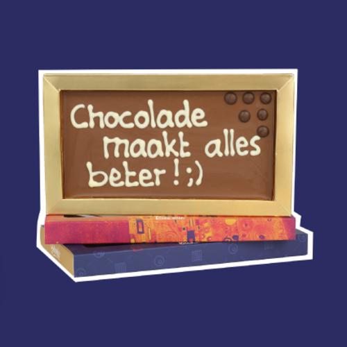 Chocoladerepen met tekst