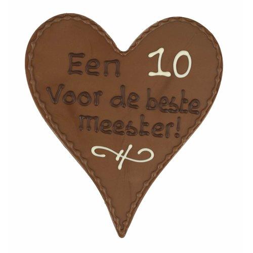 Bonvanie chocolade Een 10 voor de beste meester! - Chocoladehart met stippen