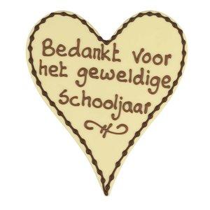 Bonvanie chocolade Bedankt voor het geweldige schooljaar - Chocoladehart met stippen