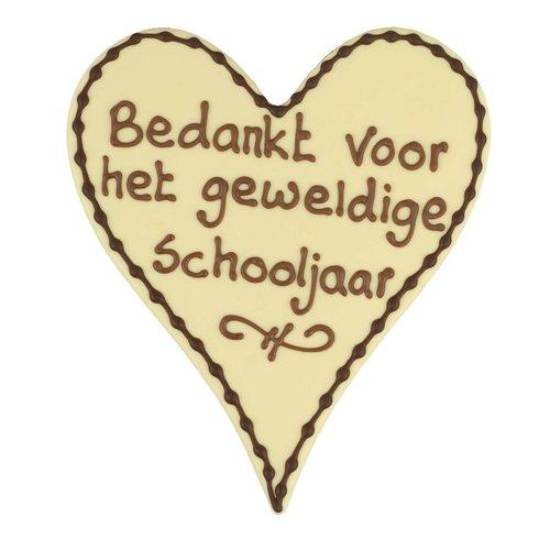 Bonvanie chocolade Bedankt voor het geweldige schooljaar - Chocoladehart XL met stippen
