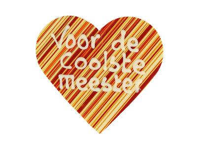 Bonvanie chocolade Voor de coolste meester - Hart met print en tekst