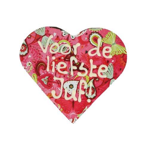 Bonvanie chocolade Voor de liefste juf - Hart met print en tekst