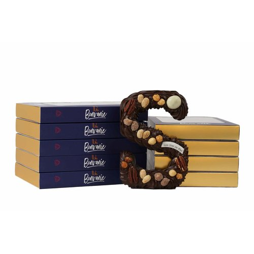 Bonvanie chocolade Handgespoten chocoladeletter wit, diverse maten