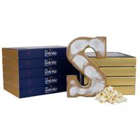 Chocoladeletter gold knettersuiker, salted caramel en popcorn - Gevuld