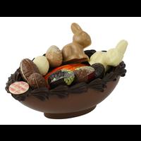 Paasbakje kunst gevuld van chocolade
