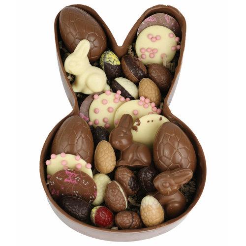 Bonvanie chocolade Paashaas schaal gevuld