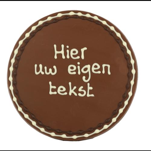 Bonvanie chocolade Eigen opschrift - Rond chocoladeplakkaat