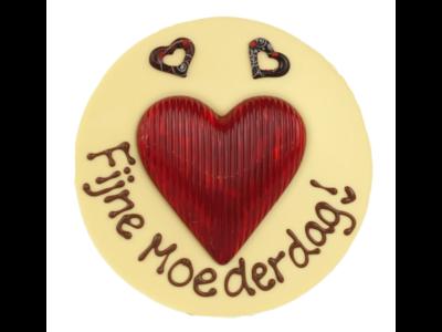 Bonvanie chocolade Fijne moederdag - Rond chocoladeplakkaat met hart