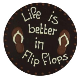 Bonvanie chocolade Life is better in flipflops - Rond chocoladeplakkaat