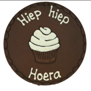 Bonvanie chocolade Hiep hiep hoera - Rond chocoladeplakkaat