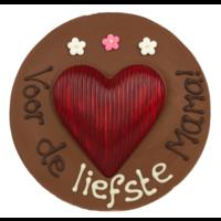 Voor de liefste mama - Rond chocoladeplakkaat met hart
