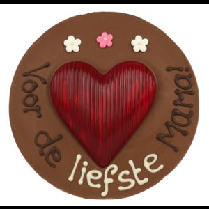 Bonvanie chocolade Voor de liefste mama - Rond chocoladeplakkaat met hart
