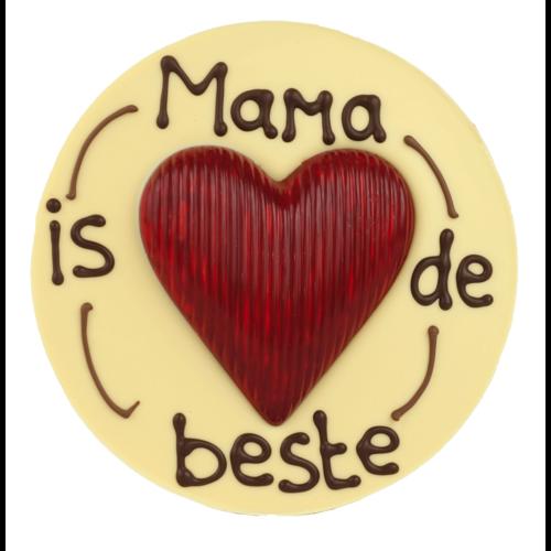 Bonvanie chocolade Mama is de beste - Rond chocoladeplakkaat met hart