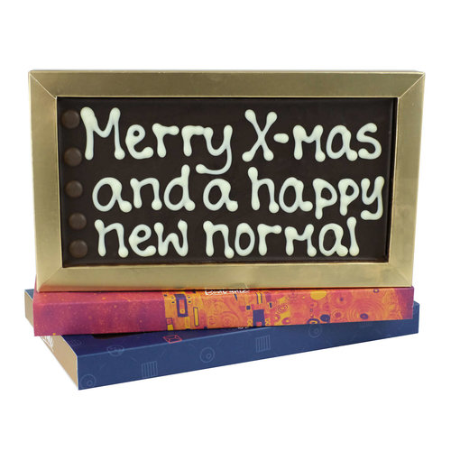 Bonvanie chocolade Merry X-mas and a happy new normal - Chocoladereep met tekst