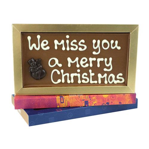 Bonvanie chocolade We miss you a merry Christmas - Chocoladereep met tekst