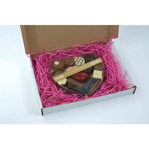 Bonvanie chocolade Ambachtelijke bonbons en liefdesbonbons in hartendoos