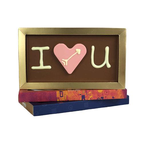Bonvanie chocolade I love you chocoladereep met chocoladehart - Chocoladereep met tekst