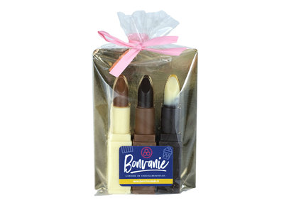 Bonvanie chocolade Lipstick van chocolade, 3 stuks