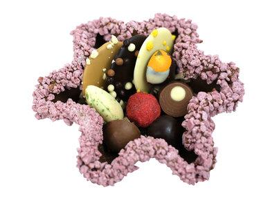 Bonvanie chocolade Tuille bakje met diverse soorten chocolade