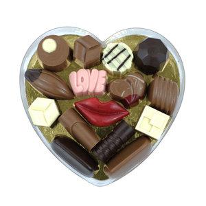 Bonvanie chocolade Bonbons en liefdesbonbons in hartendoos