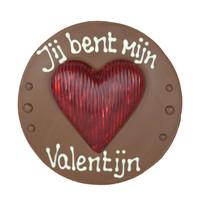 Jij bent mijn Valentijn  - Rond chocoladeplakkaat met hart