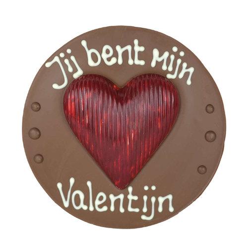 Bonvanie chocolade Jij bent mijn Valentijn - Rond chocoladeplakkaat met hart