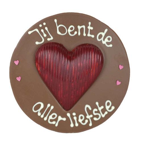 Bonvanie chocolade Jij bent de allerliefste - Rond chocoladeplakkaat met hart