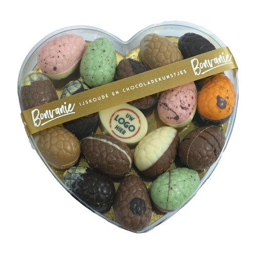 Bonvanie chocolade Ambachtelijke paaseitjes in hartendoos met logo