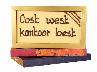 Bonvanie chocolade Oost west, kantoor best - Chocoladereep met tekst
