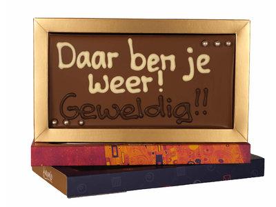 Bonvanie chocolade Daar ben je weer! Geweldig! - Chocoladereep met tekst