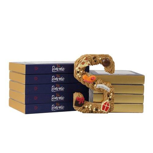 Bonvanie chocolade Luxe handgespoten chocoladeletter gold, diverse maten