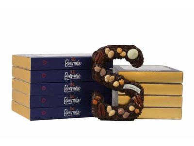 Bonvanie chocolade Luxe handgespoten chocoladeletter puur met noten, diverse maten