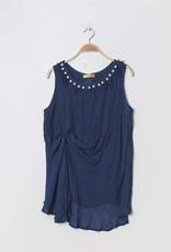 Top bleu avec perles
