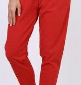 EMB Pantalon ceinture noeud Rouge