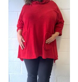 Pull rouge oversize confort