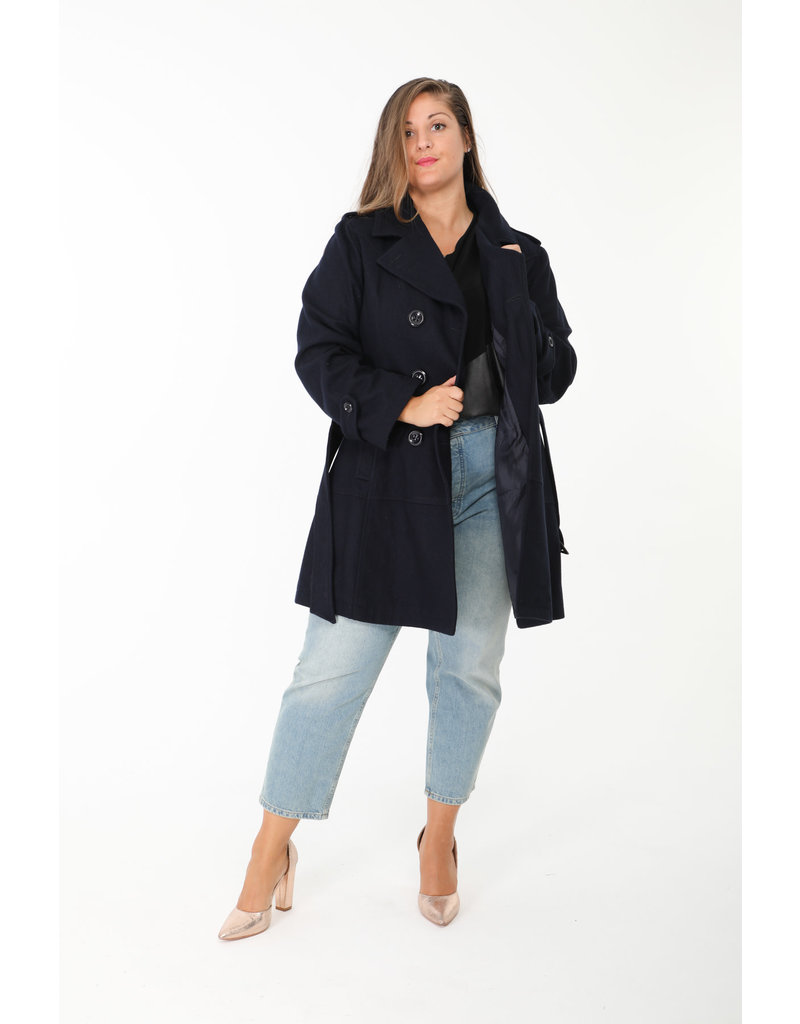 Manteau mi saison 50% laine marine