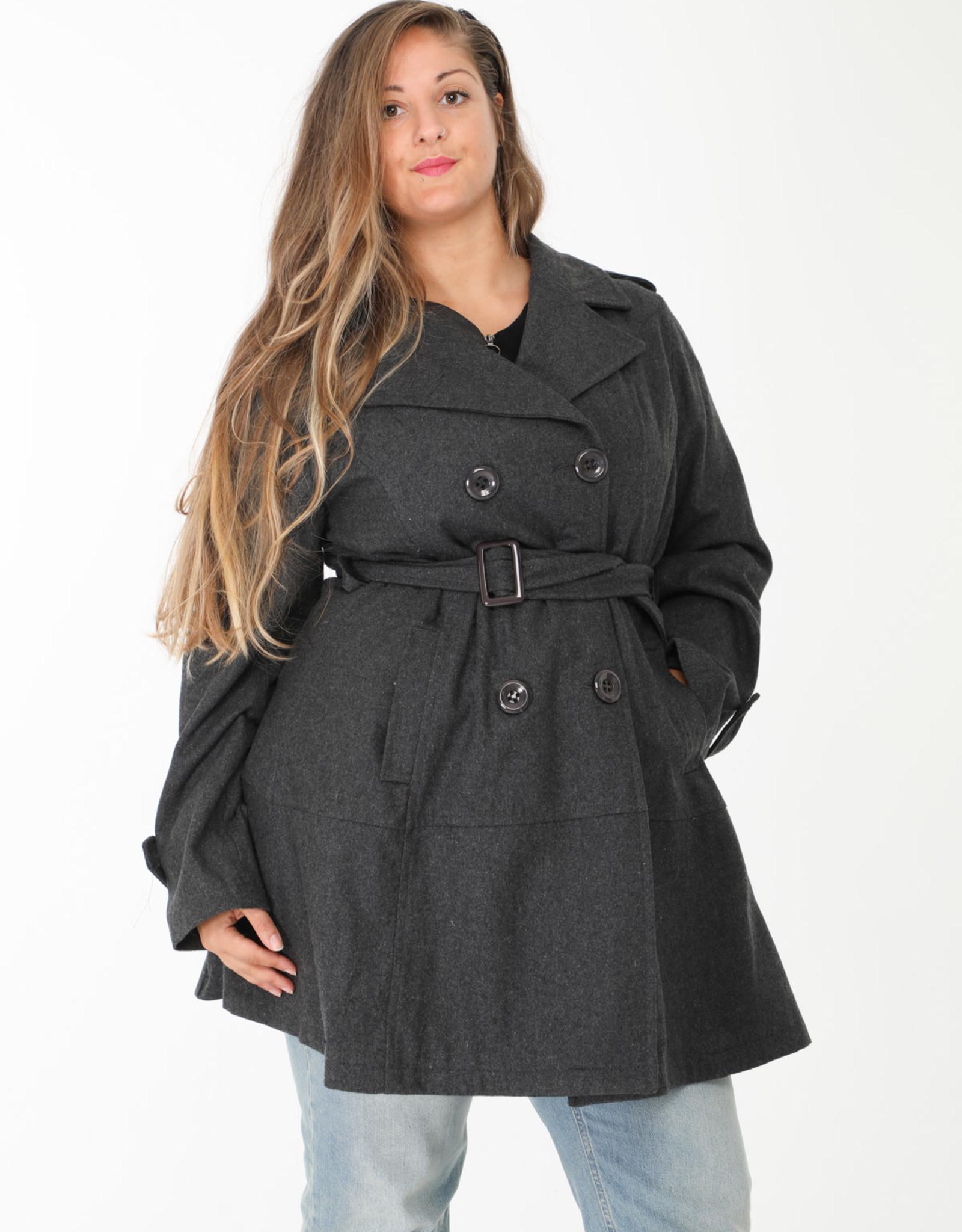 2W Manteau mi saison 50% laine gris