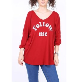 Tee shirt FOLLOW ME rouge