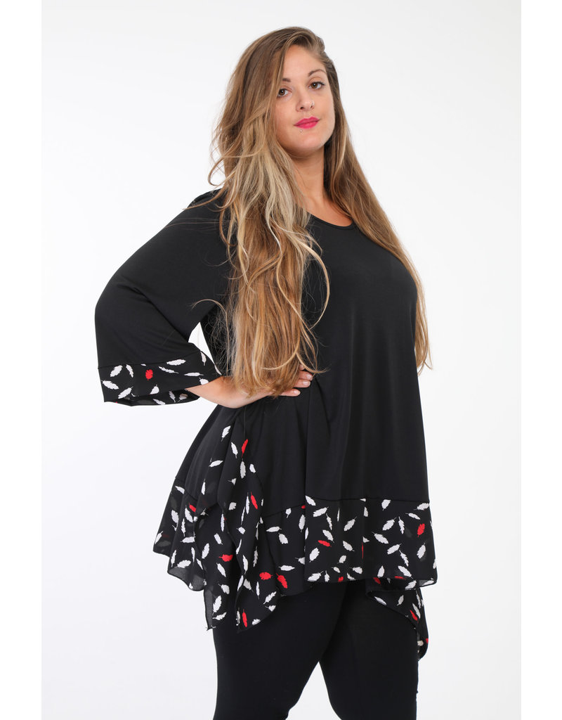 Tunique noir avec petit dessin blanc et rouge