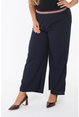 Pantalon fluide marine ceinture argentée lurex