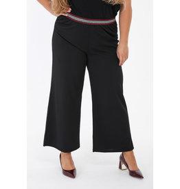 Pantalon fluide noir ceinture argentée lurex
