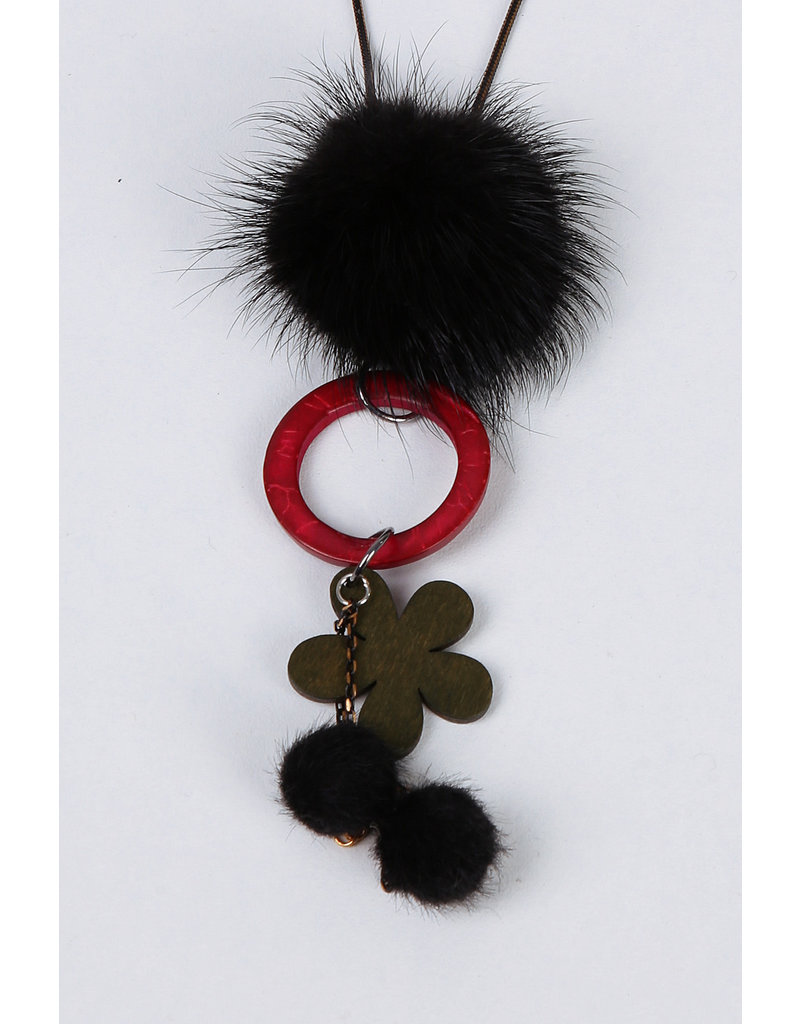 Sautoir noir kaki bordeaux pompon