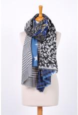 Echarpe hiver bleu & noire à motif