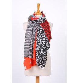 Echarpe hiver rouge & noire à motif