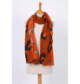 Echarpe hiver camel orange à motif