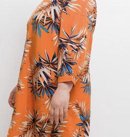 EMB Robe orange courte à feuille