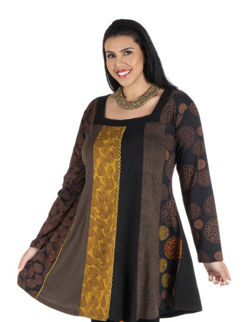 Robe tunique marron moutarde