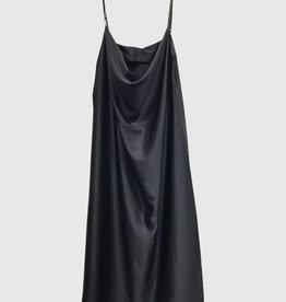 EMB Robe mi longue satinée noire