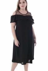 EMB Robe noire coupée aux épaules