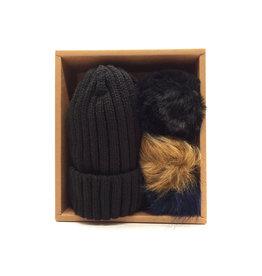 Bonnet en coffret 3 pompons interchangeables Noir
